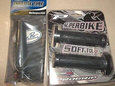 BLK Pro Grip Soft Touch Grips Throttle Tube Suzuki GSXR Hayabusa Bandit Vstrom