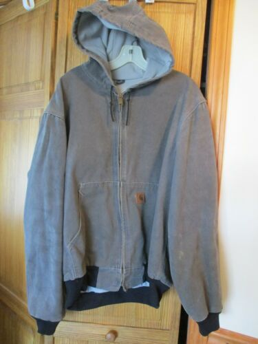 Men's Gray Carhartt Hooded Thermal Insulated Canva