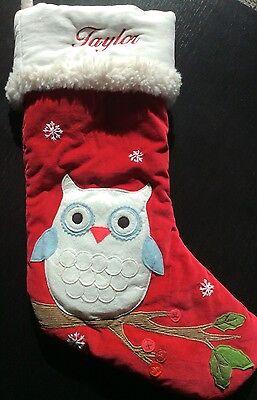Pottery Barn Kids Christmas Owl Stocking Taylor New Ebay