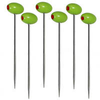 Prodyne With An Olive Stainless Steel Martini Picks - Set Of 6