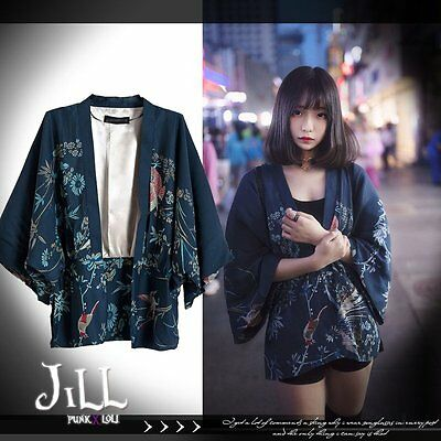goth oriental last samurai japan ukiyoe pheasant bamboo kimono blazer JN1020