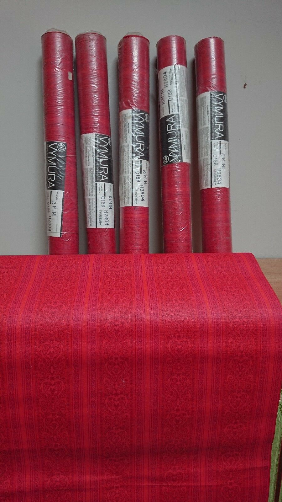 4 X ROLLS AUTHENTIC VINTAGE RETRO VYMURA rot PATTERNED Wallpaper film prop 1960s