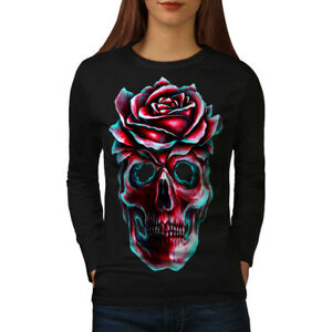 Wellcoda Rose Flower Dead Skull Womens Long Sleeve T-shirt,  Casual Design