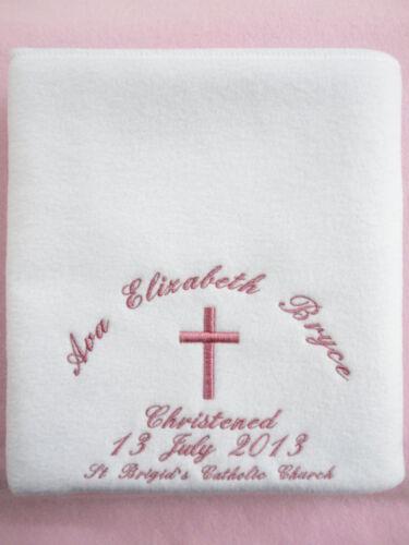 Personnalisé baptême châle-Couverture polaire disponible en 5 couleurs