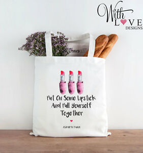 Tote Up Girly Personalised Lipstick Shopping natural Bag Shopper Make White Quote wfqw7EI5