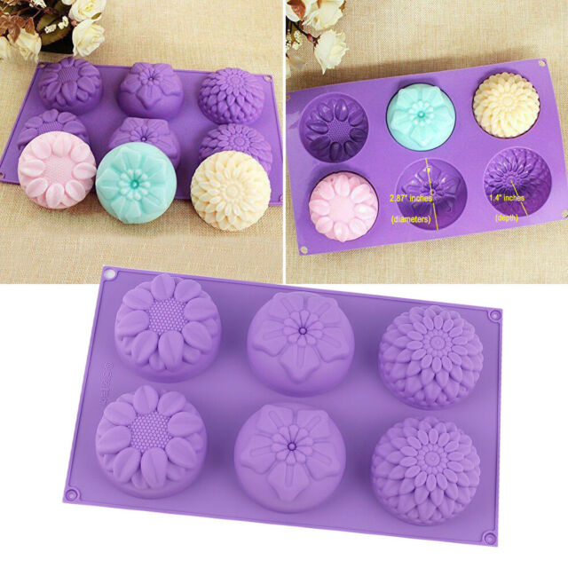 Purple 6 Cavity Flower Shaped Silicone Soap Candle Mold Craft Mould DIY Handmade