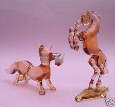 8v9:2x Art Deco Glas Miniaturfigur Fuchs Pferd Lampenglas Bimini Wien Lauscha~30