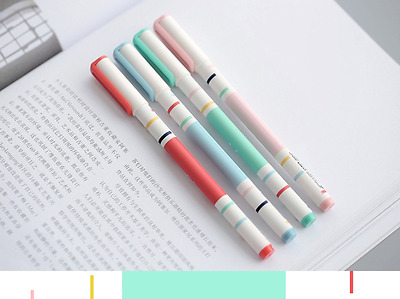NEW Stationery 6PCS Lovely Simple Line Rollerball/Gel ink Pen-0.5mm,Black Ink