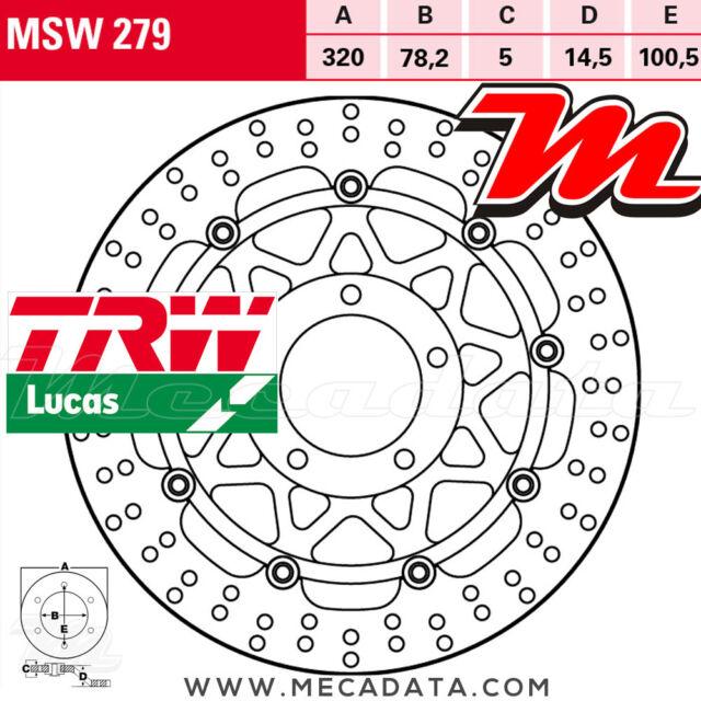 Disque de frein Avant TRW Lucas MSW 279 Triumph 955 Speed Triple (595N) 2004