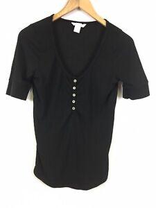 H-amp-M-Damen-Shirt-Groesse-M-schwarz-schlicht-bequem-fein