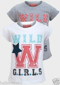 Fille-Funky-Diva-manche-courte-034-wild-girl-034-t-shirt-top-3-4-5-6-7-8-ans