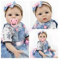 Reborn Baby Dolls 22inch Handmade Newborn Gift Lifelike Vinyl Silicone Girl Doll