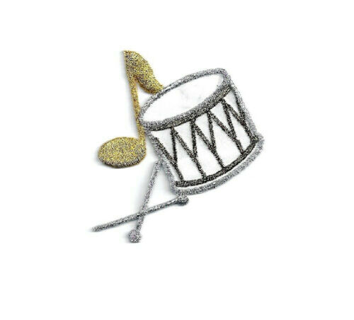 Drum Music Marching Band Embroidered Iron On Patch Musical Note Parade