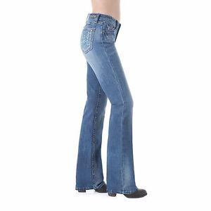af896f76 WRANGLER Rock 47 Women's Boot Cut Blue Embriodered Pocket Jeans ...