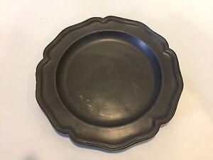 "Vintage Heavy Soft German Pewter Plate, 9"" Diameter, 1.7 Lbs Weight"