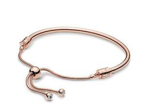 Authentic Pandora 587953 Rose Sliding Bangle Bracelet