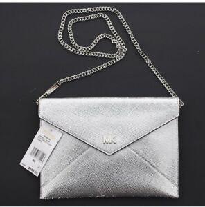e033a8d74fb1cc Michael Kors MK Barbara Silver Soft Envelope Clutch Crossbody Purse ...