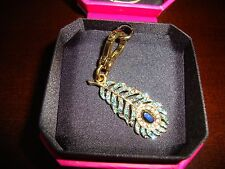 JUICY COUTURE PEACOCK FEATHER CHARM FOR BRACELET, NECKLACE, HANDBAG OR KEYCHAIN