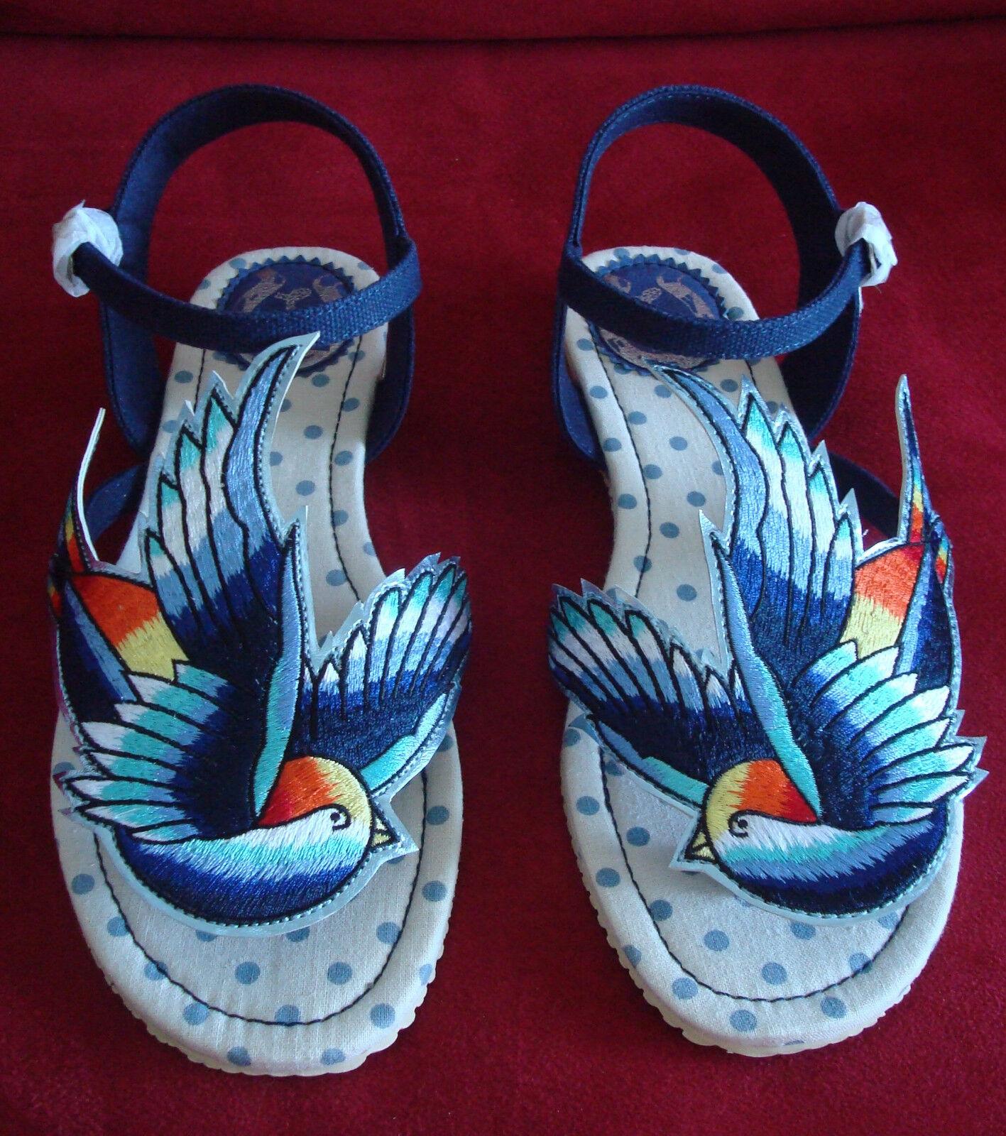 Nuevos Zapatos By Miss L Fire, azul Bird Multi, Caja Original