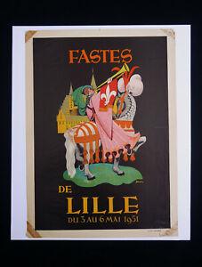 Affiche Fastes De Lille Du 3 Au 6 Mai 1951 Illustration Par Simons Fleur De Lys Avec Le Meilleur Service