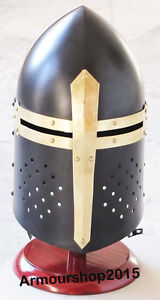 Sugarloaf Helmet with Black Plume & Red Stand~Armor Medieval Knight Helmet