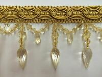 4 Crystal Beaded Tassel Fringe Trim Antique Gold Tf -32/12 (sold By The Yard)