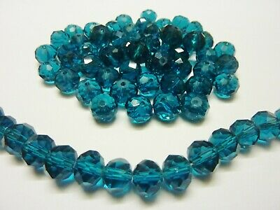 60 pce Indigo Faceted Crystal Cut Abacus Glass Beads 10mm x 7mm