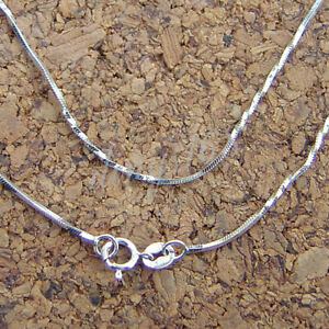 Sterling Silver 16in 1mm Square Snake Necklace Chain