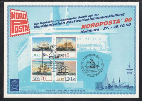 C 24 ) East Germany beautiful Philatelic commemorative sheet 1990 / ships