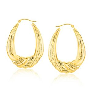 14k-Yellow-Gold-Graduated-Textured-Oval-Hoop-Earrings