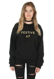 Sanfran Festive AF Gold Top Christmas Xmas Funny Gift Jumper Sweater