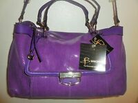 B. Makowsky Purple Large Luxury Shiny Textured Leather Satchel Shoulder Bag