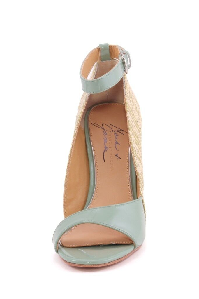 Mark & James Badgley Mischka RIVA Sage Raffia NEW Patent Leder Wanton Wedges NEW Raffia 9dc8b8