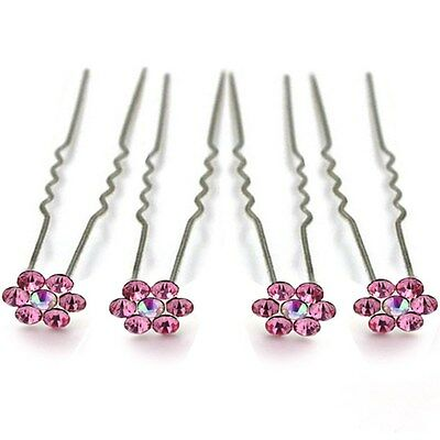 NEW! Set of 4 Pink Flower Crystal Hair Pins