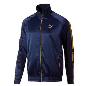 Puma-Men-039-s-Zip-Up-Luxe-Pack-Track-Jacket-Navy-Yellow-M