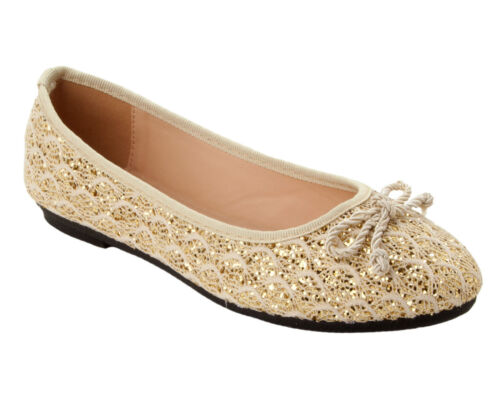 WOMENS GOLD GLITTER LACE BRIDESMAIDS PROM FLAT DOLLY PUMPS SHOES LADIES SIZE 3-8