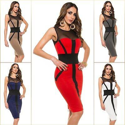# SEXY Koucla Cocktail KLEID Midi Party PencilKleid Abendkleid DRESS mit Zip  #