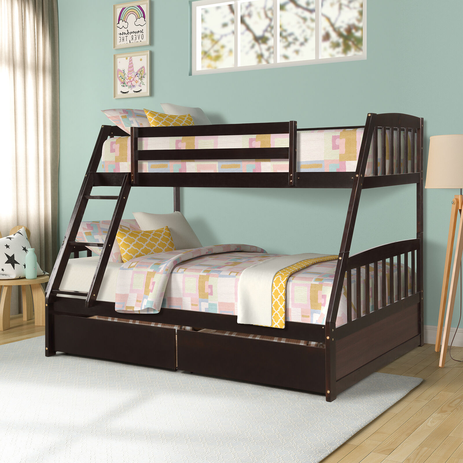 Pemberly Row Twin Over Twin Solid Wood Bunk Bed In Cherry For Sale Online Ebay