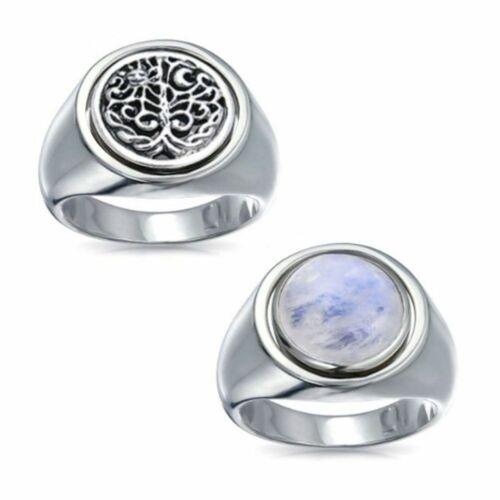 Réversible terre Cycle Gemstone Sterling Silver Ring par Peter Stone très unique