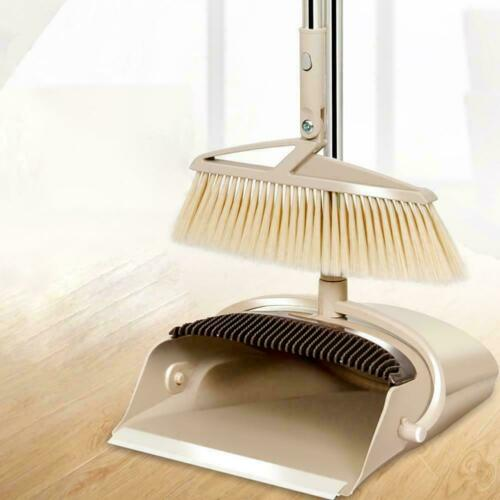 """54/"""" Long Handle Rotatable Self-Cleaning Broom and Dust Pa Broom and Dustpan Set"""