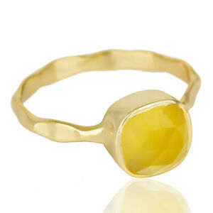 Hammered Band Yellow Chalcedony Ring 925 Silver Gold Plated Stackable Ring