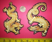 Cool Golden Dragons Iron-ons Fabric Appliques Iron-ons