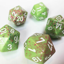 Set of 5 D20 Chessex Dice RPG D&D - Speckled Light Green w/ Pink Numbers - RARE!
