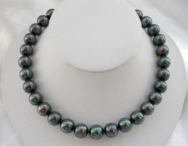"""Rare Natural AAA 12mm Rainbow Black South Sea Shell Pearl Gemstone Necklace 18"""""""