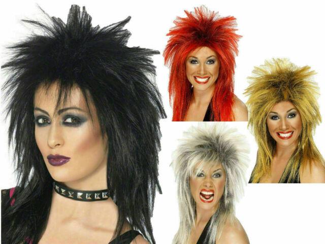 Rock Diva Wig Blonde Tina Turner Mullet Ladies Fancy Dress Costume Accessory 80s