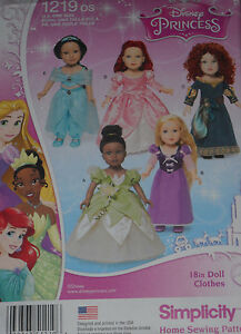 Disney-Princess-18-034-Doll-Clothes-fits-American-Girl-Simplicity-1219-Sew-Pattern
