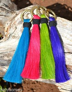 Bright-6-034-Horsehair-Shu-Fly-Tassels-1-034-Brass-Ring-Lime-Purple-Orange-Turquoise