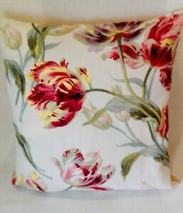 Laura-Ashley-Gosford-floral-cranberry-fabric-Cushion-covers-size-16-18-20-039-039-BN