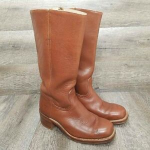 Vintage Frye Men's Campus Boot Brown Leather Square Toe Size 7.5 D Made in USA