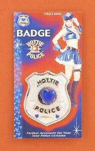 HOTTIE-POLICE-PLASTIC-POLICE-BADGE-w-BLUE-HEART-GEMS-HALLOWEEN-COSTUME-ACCESSORY